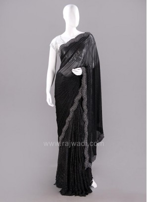 Net Embellished Sari in Black