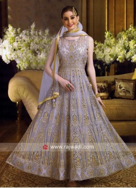 Net Embroidered Anarkali Suit in Grey