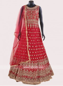 Net Embroidered Anarkali Suit in Red