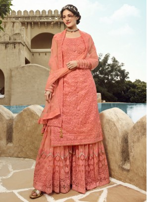 Net Embroidered Designer Palazzo Salwar Suit in Peach