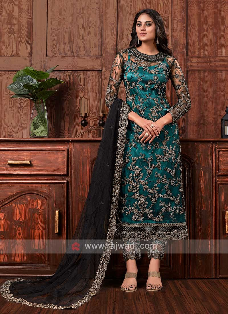 Net embroidered dress material