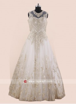 Net Embroidered Fairy Gown in Off White