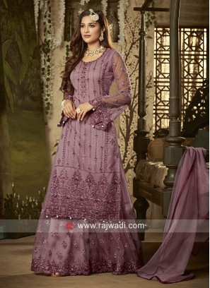 Net Embroidered Gharara Suit