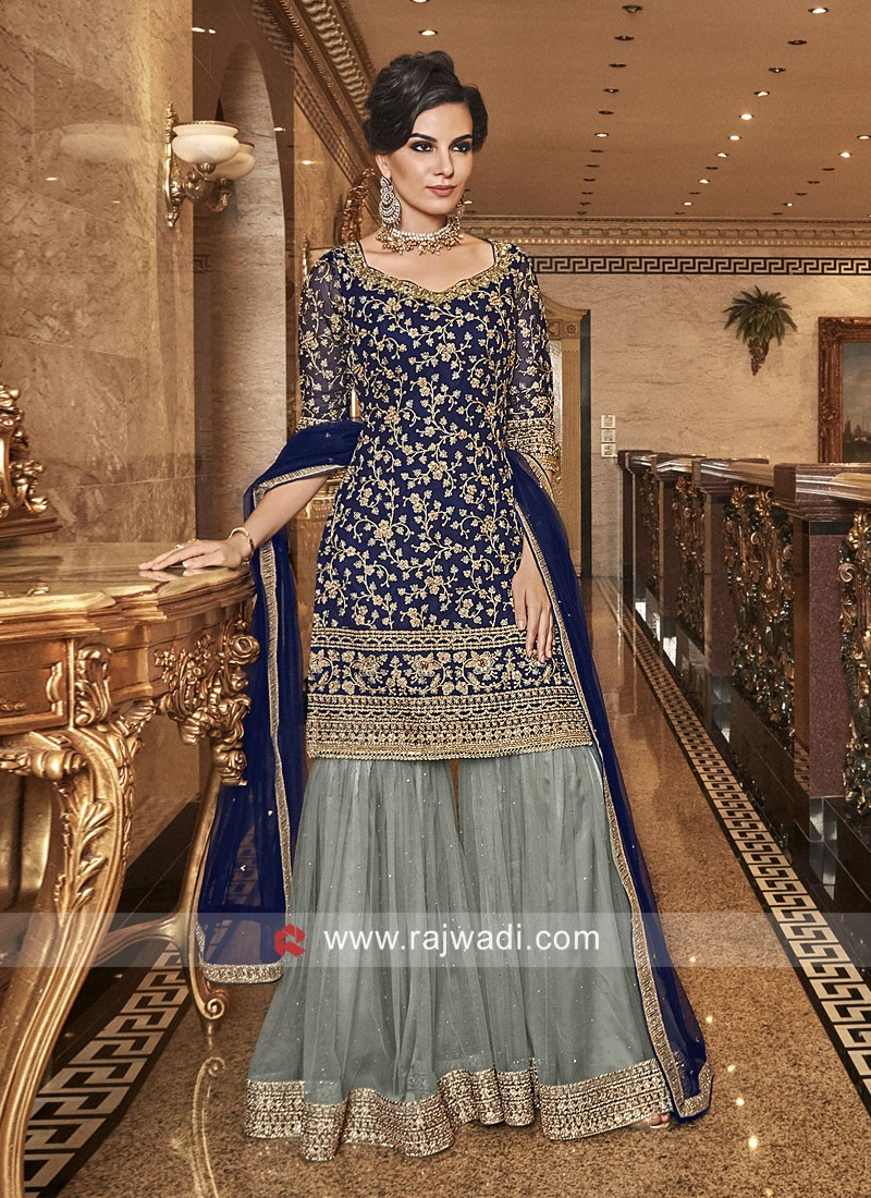 Net Embroidered Gharara Suit with Dupatta