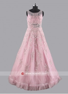 Net Embroidered Gown in Pink