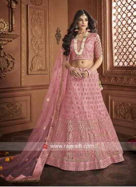 Net Embroidered Lehenga Choli in Light Pink