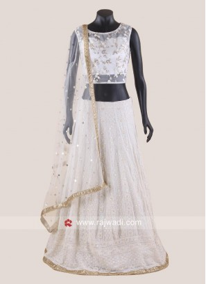 Net Embroidered Lehenga Choli in Off White