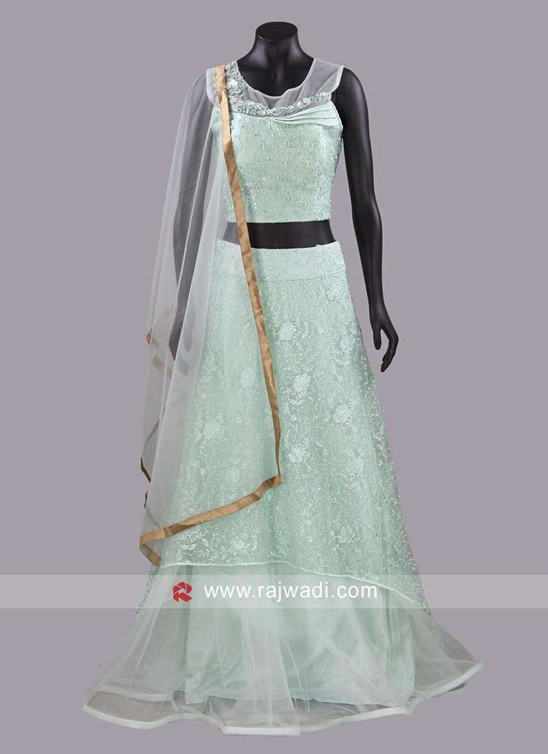 Net Embroidered Lehenga Set