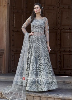 Net Embroidered Lehenga Style Salwar Suit