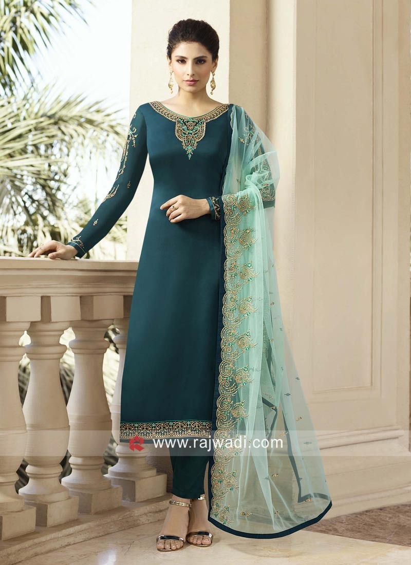 Net Embroidered Lehenga Style Suit