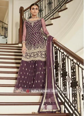 Net Embroidered Palazzo Suit