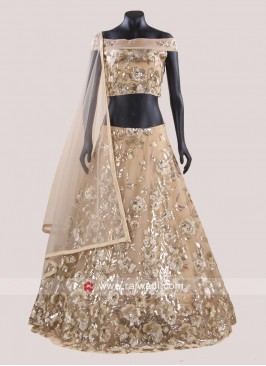 Net Embroidered Readymade Lehenga Set