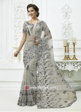 Net Embroidered Saree in Grey