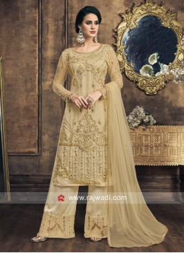 Net Embroidered Semi Stitched Salwar Suit