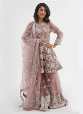 Net Embroidered Tail Cut Gharara Suit In Onion Pink