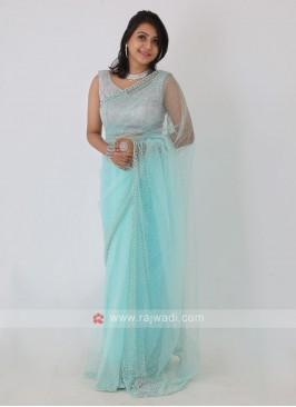 Net Fabric Aquamarine Color Saree