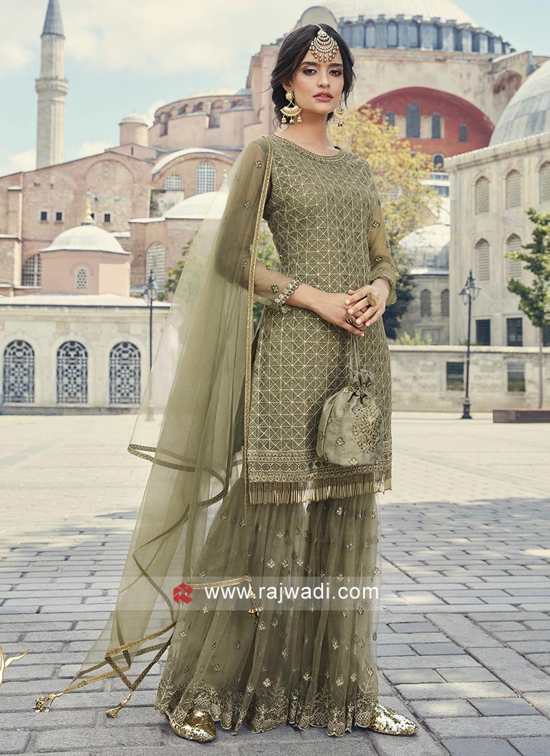 Net Fabric Gharara Suits For Wedding