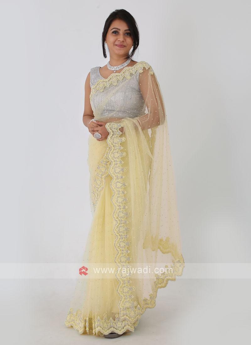 Net Fabric Lemon Yellow Saree