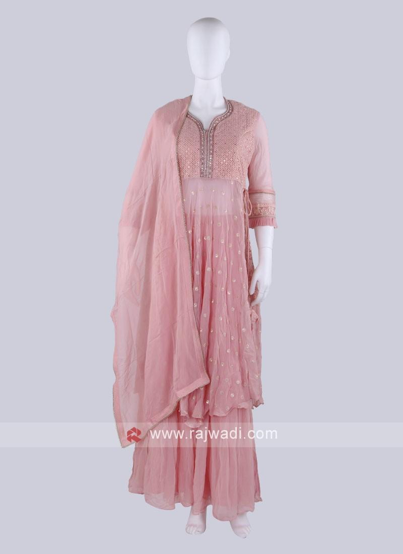Net Fabric Peach Gharara Suit