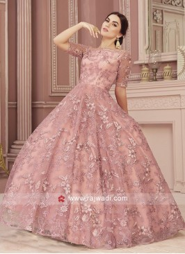 Net Fabric Pink Flare Gown