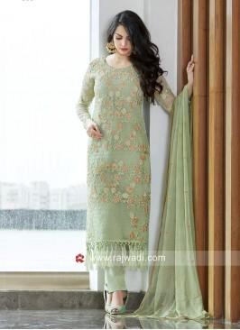 Net Fabric Pista Green Salwar Kameez