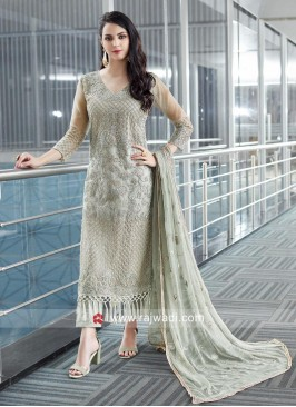 Net Fabric Semi Stitched Salwar Suit