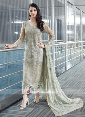 Net Fabric Semi Stitched Salwar Suit