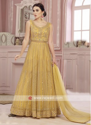 Net Fabric Yellow Anarkali Suit