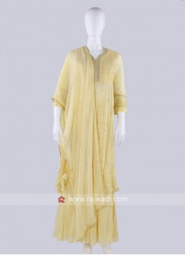 Net Fabric Yellow Gharara Suit