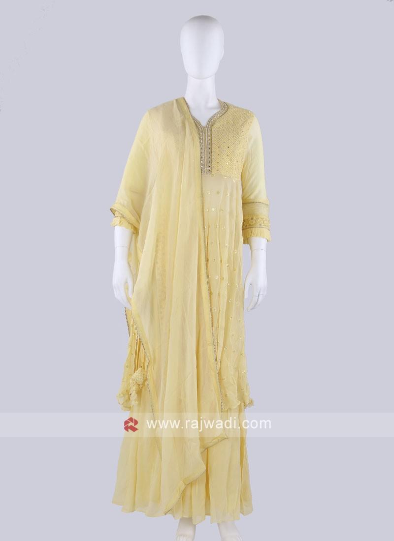 Net Fabric Yellow Gharara Suit