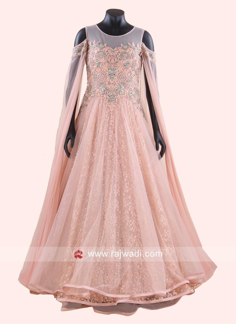 Net Flare Gown in Peach