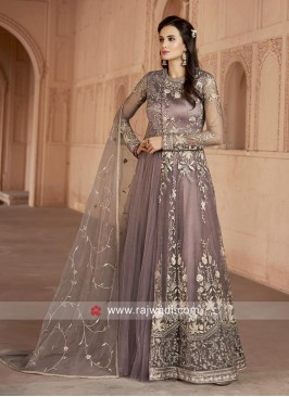 Net Floor Length Anarkali Suit with Dupatta