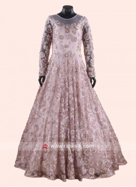 Net Floor Length Gown in Light Pink