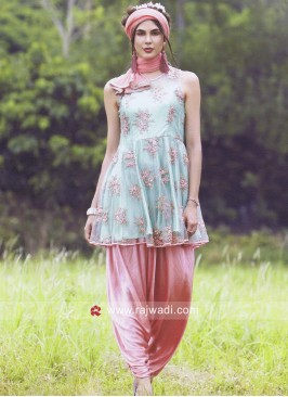 Net Flower Work Dhoti Patiala Suit