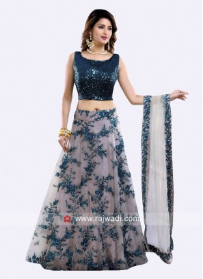 Net Flower Work Lehenga Choli