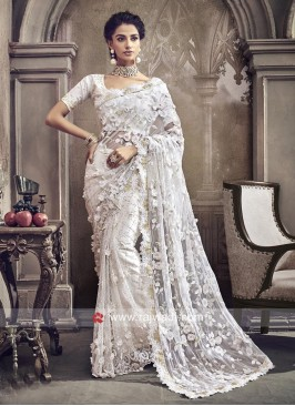 Net Flower Work Saree in white