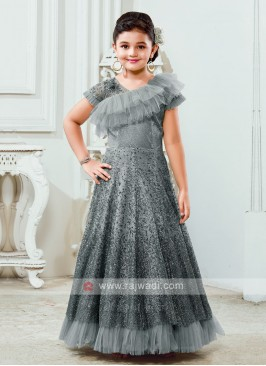 Net Girls Gown In Grey