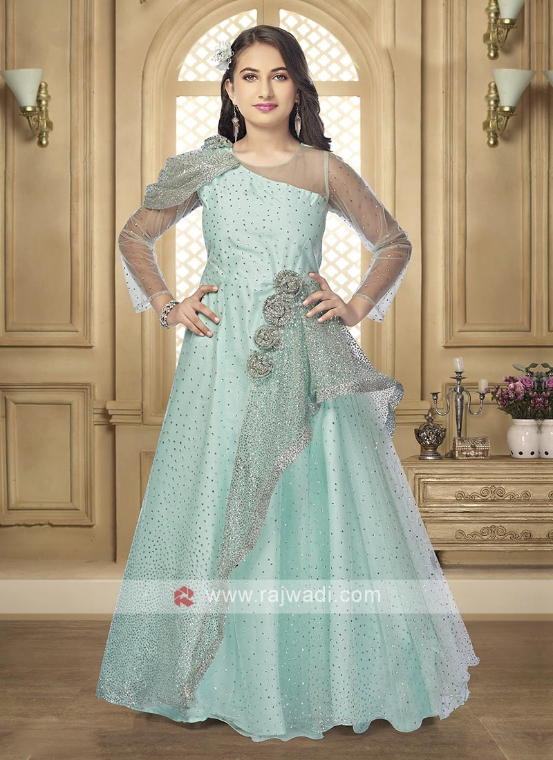 Net gown in firozi color
