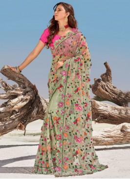 Net Green Zari Traditional Saree