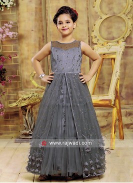 Net Grey Front Open Slit Full Party Gown for Girls