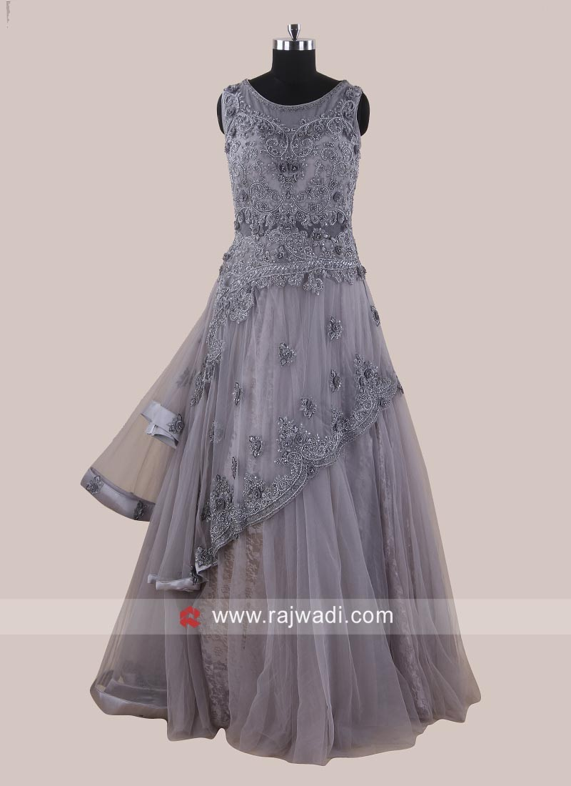 Net Grey Layered Full Gown
