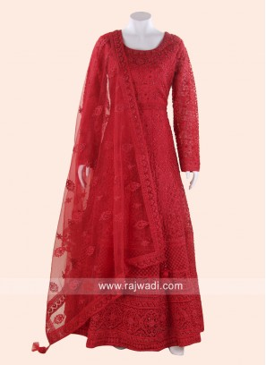 Net Heavy Anarkali Suit in Red