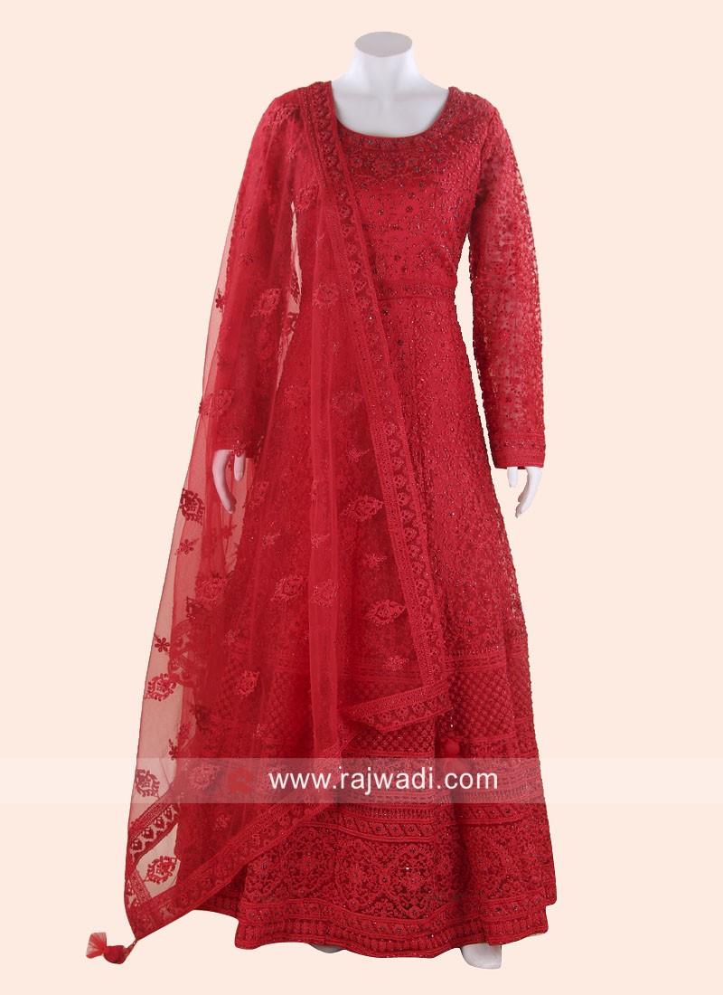 Net Heavy Anarkali Suit in Red