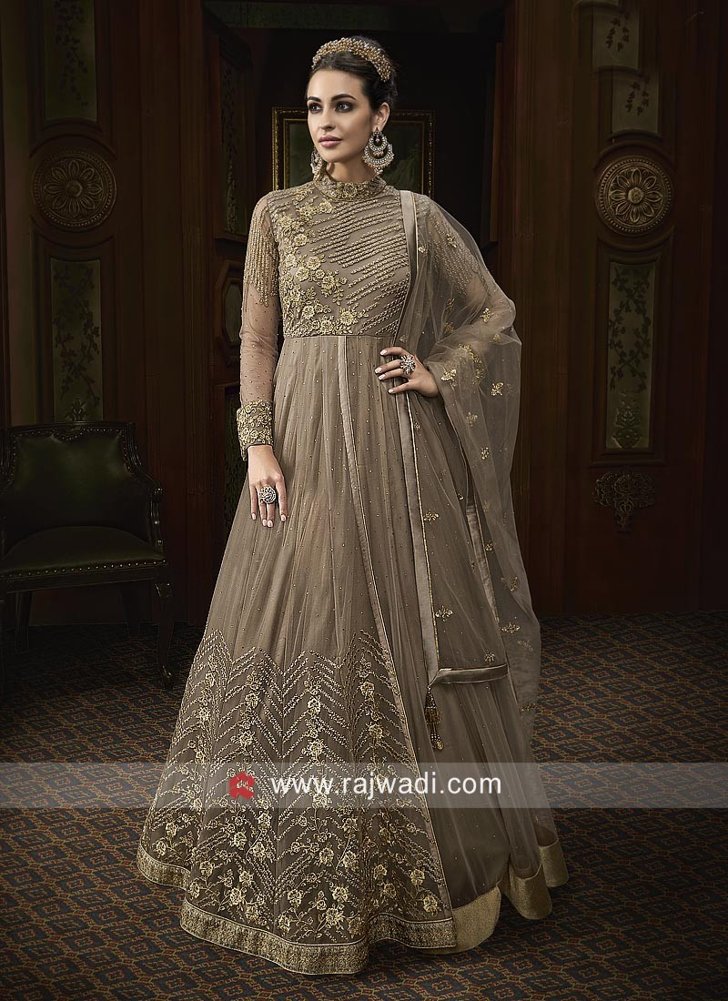Net Heavy Anarkali Suit with Front Open Slit