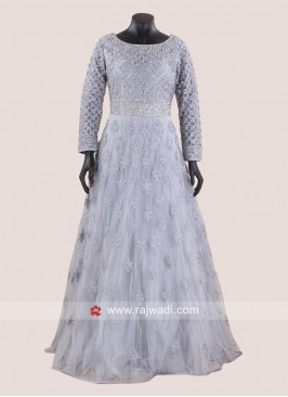 Net Heavy Embroidered Bridal Engagement Gown