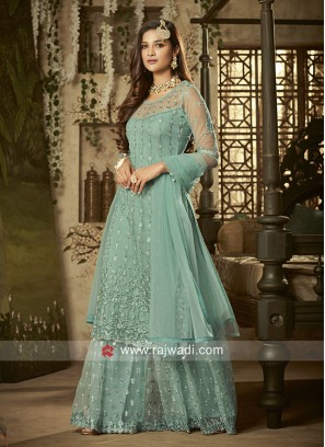 Net Heavy Embroidered Gharara Suit