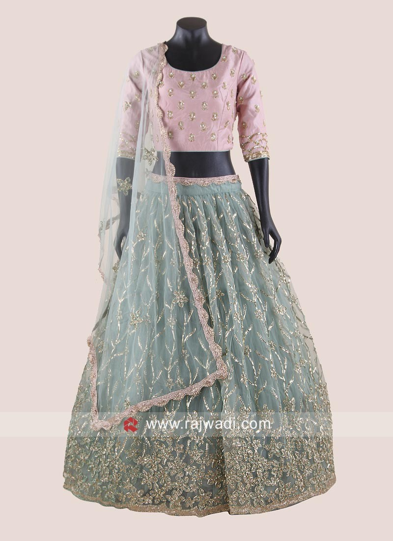 Net Heavy Embroidered Lehenga Set