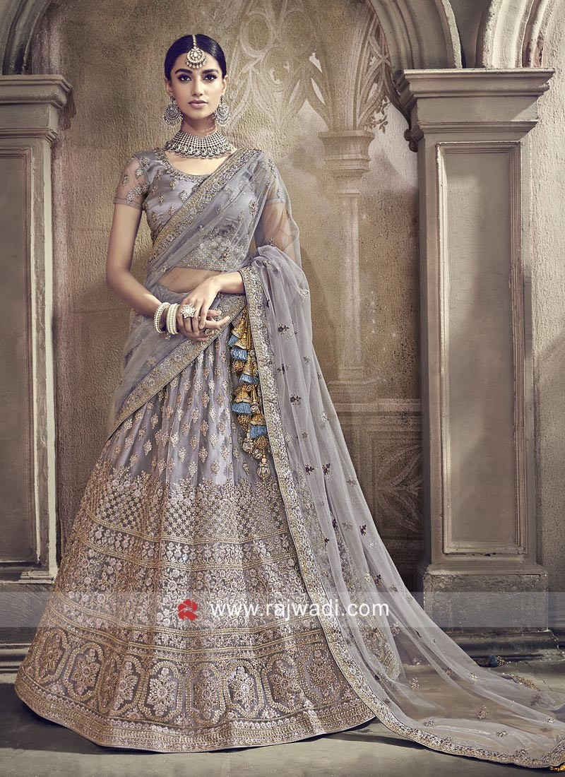 Net Heavy Embroidered Lehenga Set in Grey