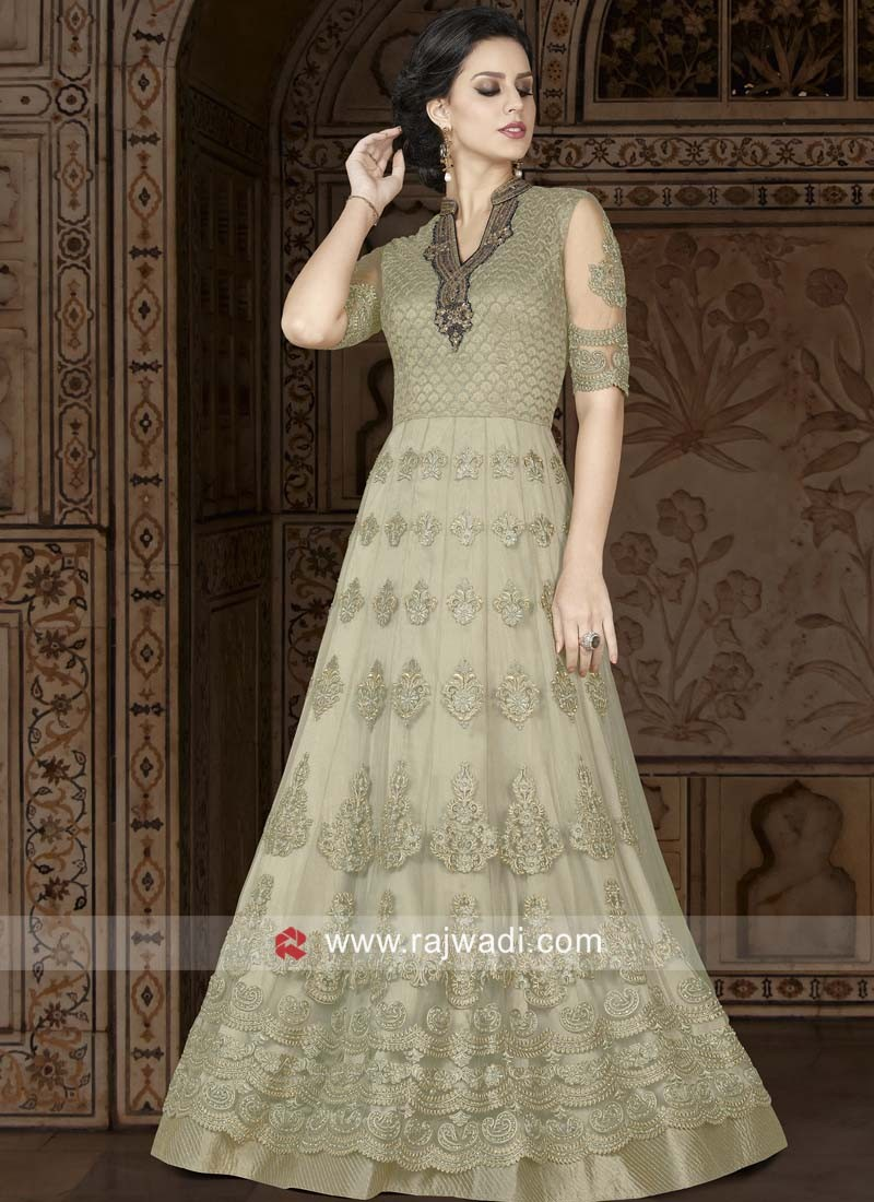 Net Heavy Embroidered Salwar Kameez