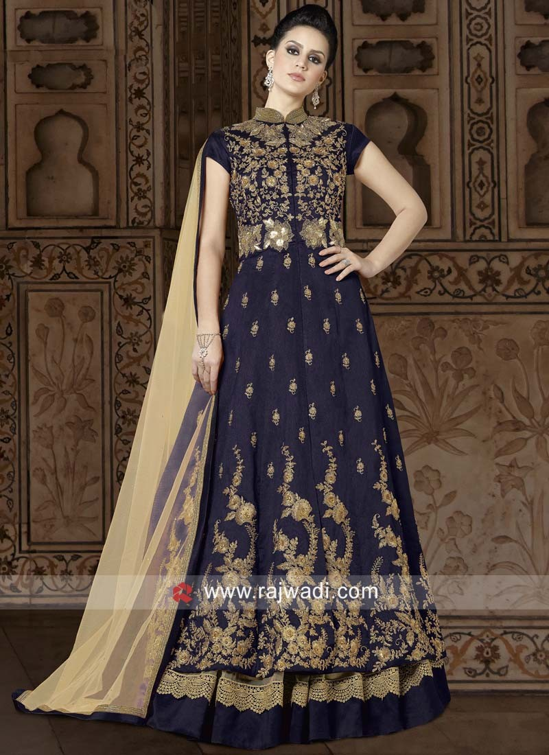 Net Heavy Embroidery Semi Stitched Suit